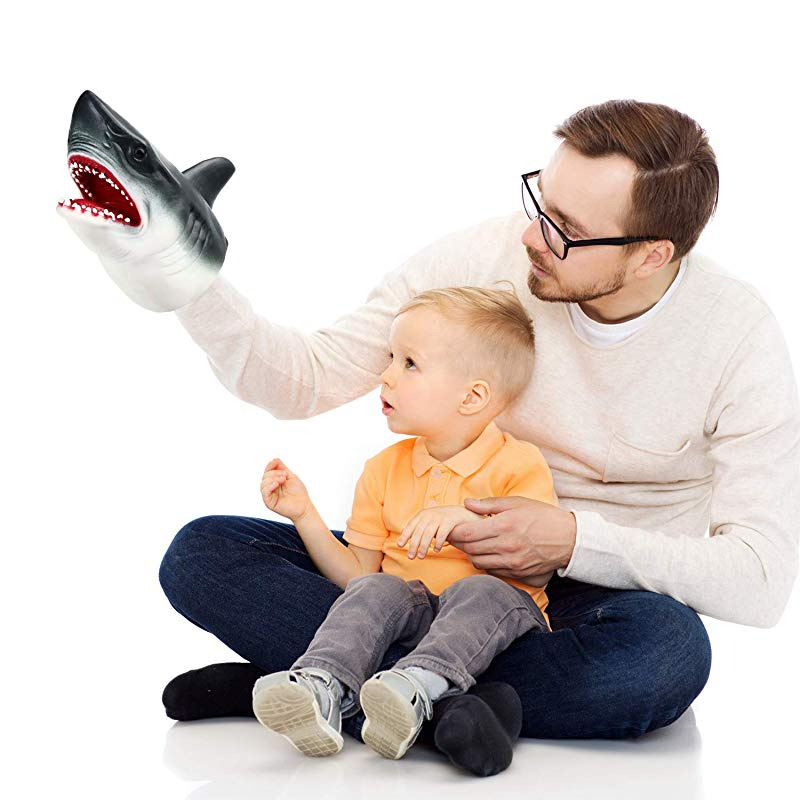 Blulu Tyrannosaurus Rex Duel Prehistoric Shark Hand Puppet Set Role Play Toys Animal Puppets Rubber Set of 2 Soft Rubber Realistic Shark and Dinosaur Toys