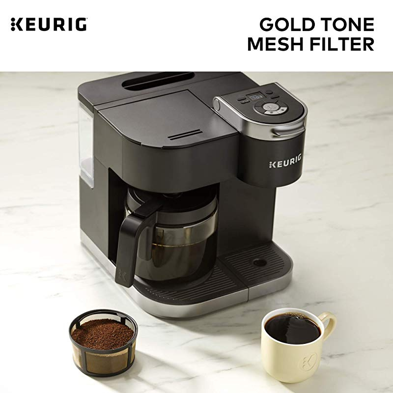 Keurig Reusable Mesh Ground Coffee Filter Gold Tone Mesh Compatible with K-Duo Essentials and K-Duo Brewers only