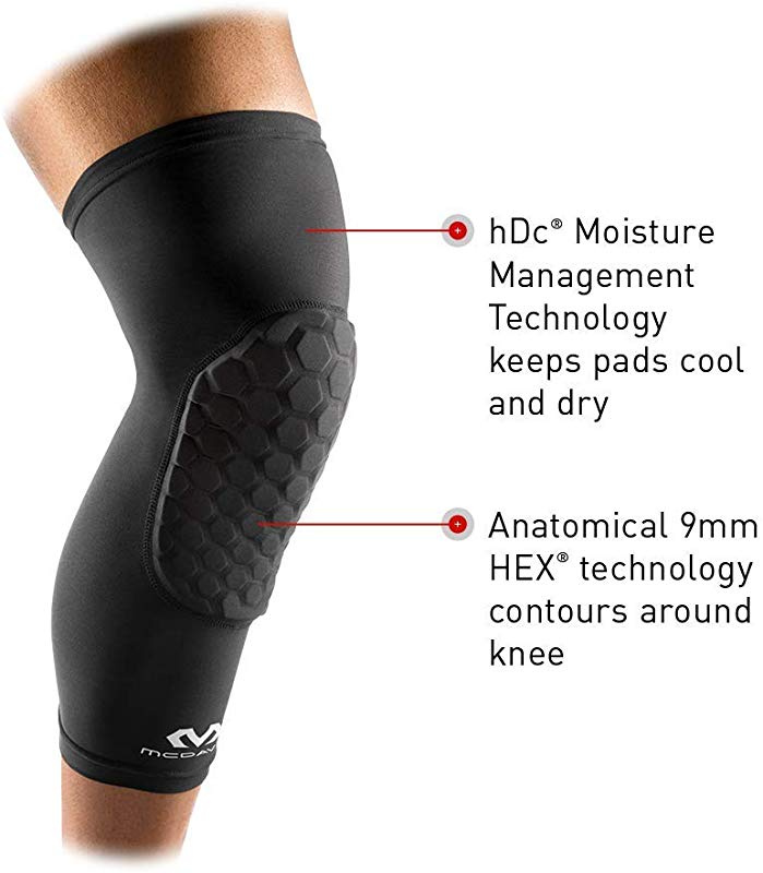 McDavid 6446 Medium Hex Knee Pads Compression Sleeve Basketball Football White