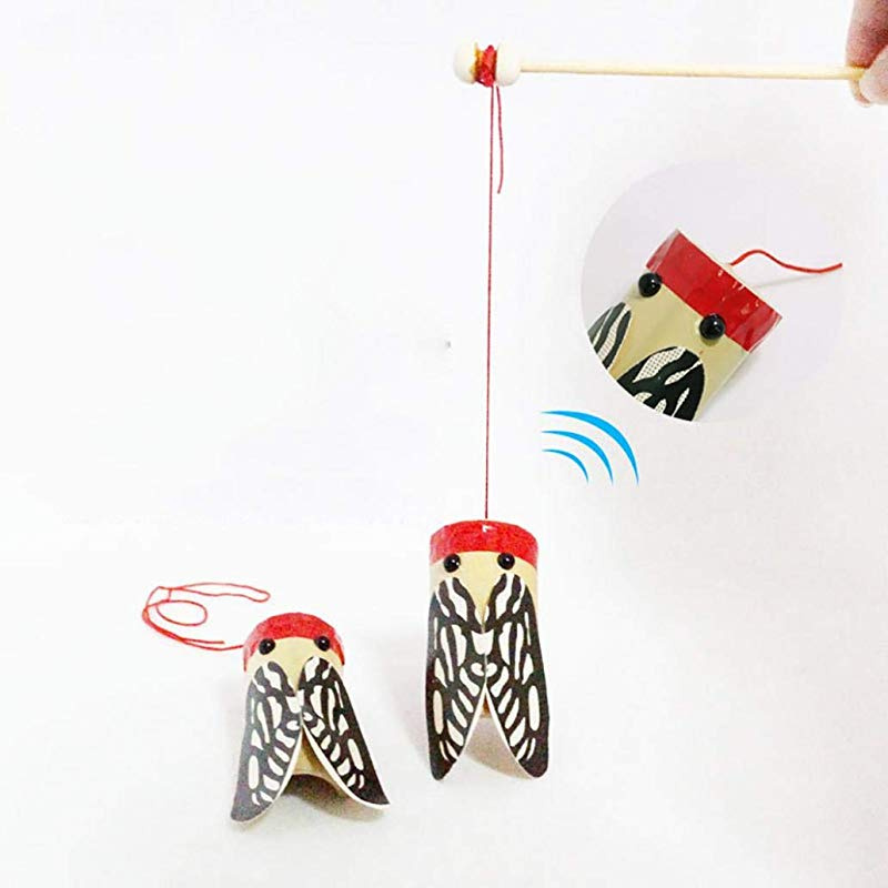 Wooden Rod Shaking Cicada Sound Transmission Experiment Education Kids Toy N
